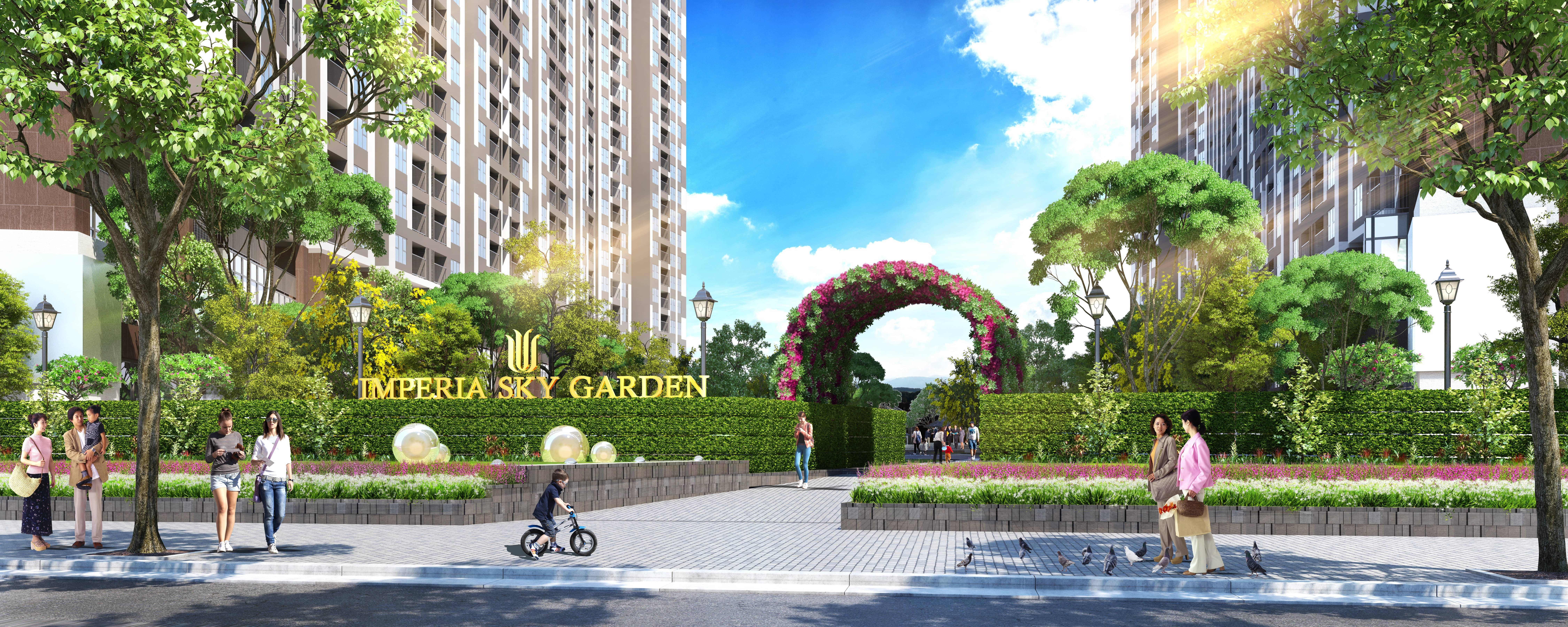 cổng chào đón Imperia Sky Garden