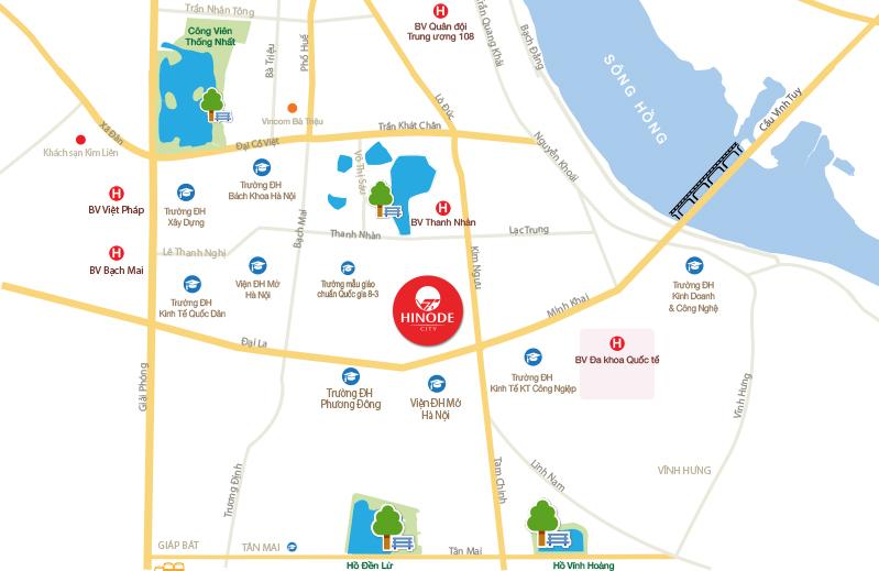 Vị trí chung cư Hinode City tại số 201 Minh Khai