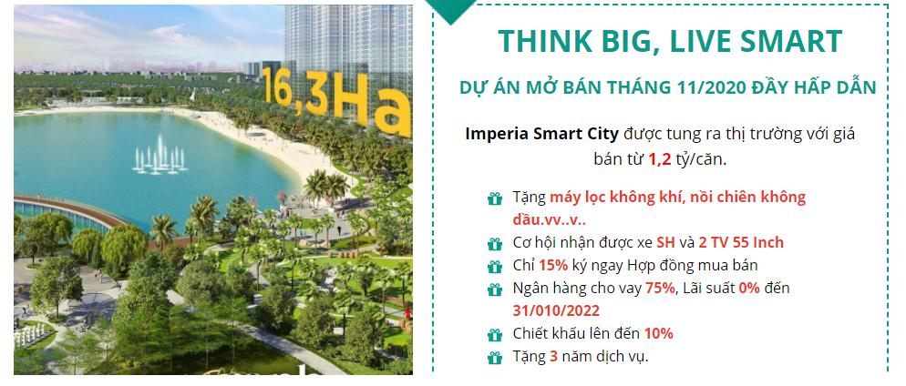 Ưu đãi lớn tháng 11/2020 từ dự án Imperia Smart City